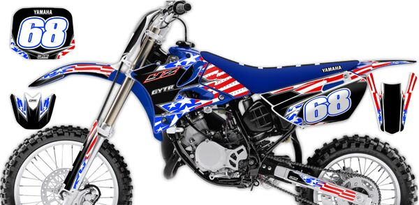 Semi Custom Complete Graphics Kit Yamaha YZ85 (2 Stroke) 2002 Stars and Stripes Series