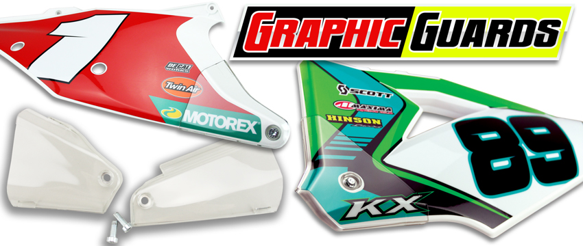 DeCal Works Graphic Guards for Honda, KTM, Husqvarna and Yamaha made by Polisport