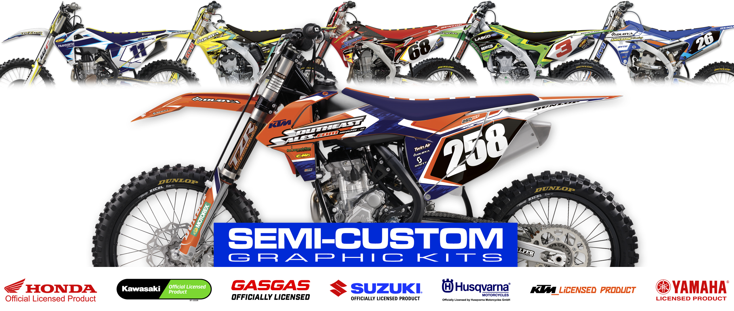 MX Graphics Dirt Bike Decals Semi Custom Kit