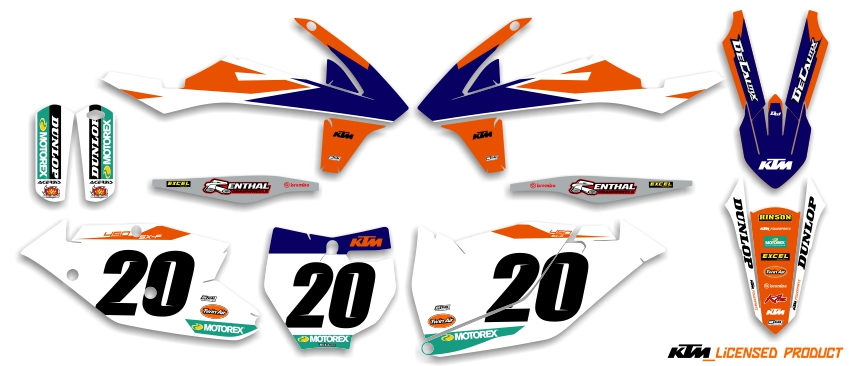 Factory series 18 semi custom complete kit for ktm mx graphics dirt bike decals