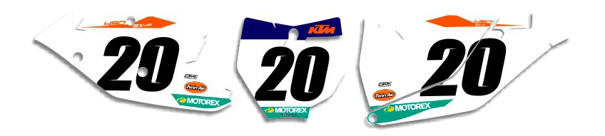 MX Graphics Dirt Bike DeCals KTM Factory Series 18 Number Plates