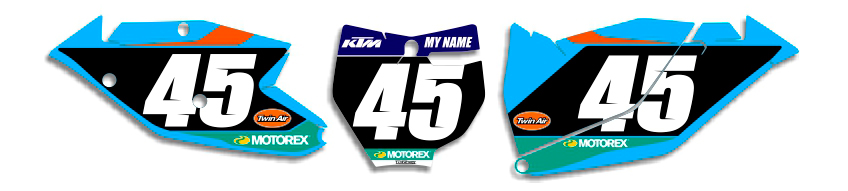 MX Graphics Dirt Bike DeCals KTM Factory Series 3 Number Plates