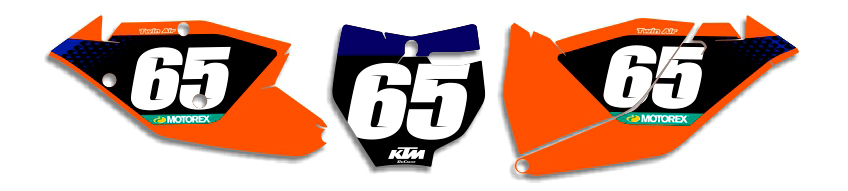 MX Graphics Dirt Bike DeCals KTM Factory Series 4 Number Plates