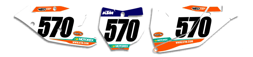 MX Graphics Dirt Bike DeCals KTM Factory Series 5 Number Plates