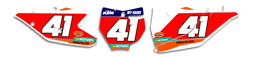 MX Graphics Dirt Bike DeCals KTM Factory Series 8 Number Plates