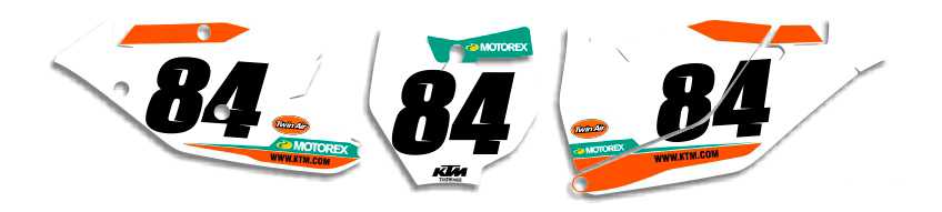 MX Graphics Dirt Bike DeCals KTM Factory Series 9 Number Plates