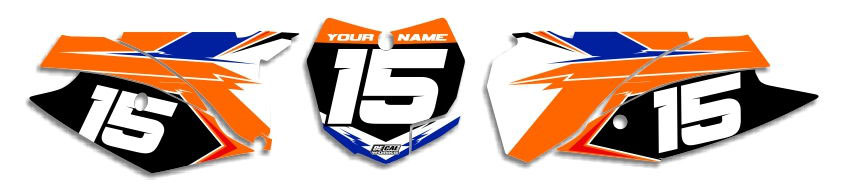 MX Graphics Dirt Bike Decals KTM T-15 Number Plates