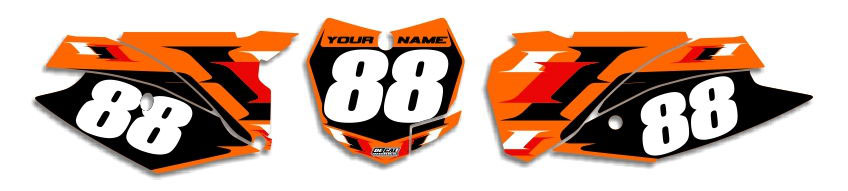 MX Graphics Dirt Bike Decals KTM T-6 Number Plates