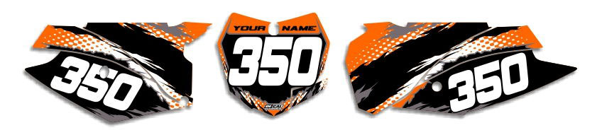 MX Graphics Dirt Bike Decals KTM T-8 Number Plates