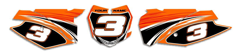 MX Graphics Dirt Bike Decals KTM T-9 Number Plates