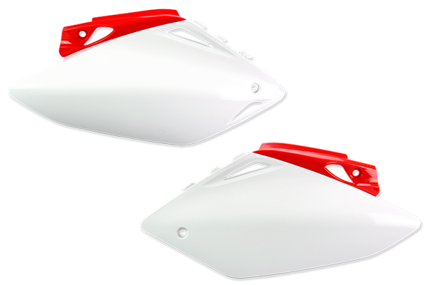 White / Red Number Plate Plastic Kit Honda: CRF450R (2008)