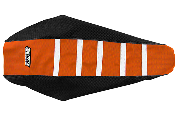 DeCal Works Gripper Ribbed Seat Cover Black / Orange / White DeCal Works Seat Covers {{bikestring}}