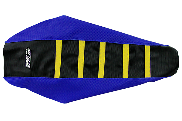 DeCal Works Gripper Ribbed Seat Cover Blue / Black / Yellow DeCal Works Seat Covers {{bikestring}}