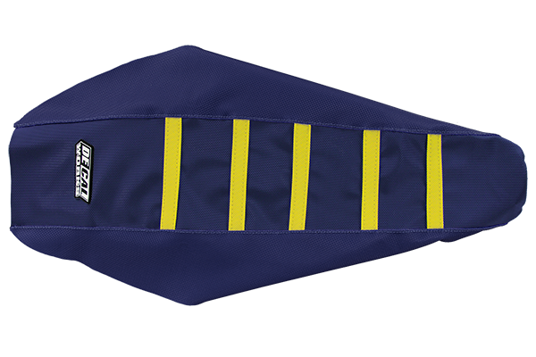 DeCal Works Gripper Ribbed Seat Cover Navy / Navy / Yellow DeCal Works Seat Covers {{bikestring}}