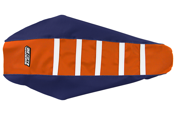DeCal Works Gripper Ribbed Seat Cover Navy / Orange / White DeCal Works Seat Covers {{bikestring}}