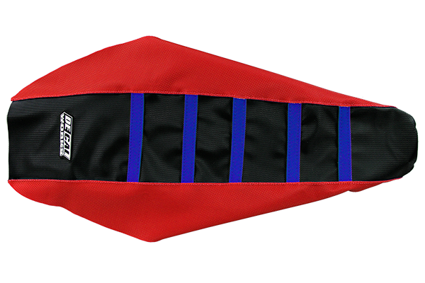 DeCal Works Gripper Ribbed Seat Cover Red / Black / Blue Plastic Kit Level 1 Honda: CRF250R [Stock Shape Side Plate Plastic] (2014-17) / CRF250R [DeCal Works Restyled Side Plate Plastic] (2014-17) / CRF450R [DeCal Works Restyled Side Plate Plastic] (2013-16) / CRF450R [Stock Shape Side Plate Plastic] (2013-16)