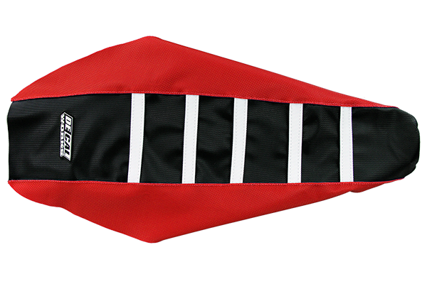 DeCal Works Gripper Ribbed Seat Cover Red / Black / White DeCal Works Seat Covers {{bikestring}}