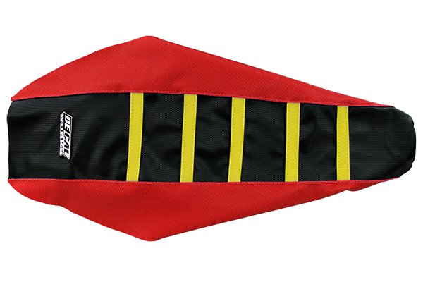 DeCal Works Gripper Ribbed Seat Cover Red / Black / Yellow Plastic Kit Level 1 Honda: CRF250R [Stock Shape Side Plate Plastic] (2014-17) / CRF250R [DeCal Works Restyled Side Plate Plastic] (2014-17) / CRF450R [DeCal Works Restyled Side Plate Plastic] (2013-16) / CRF450R [Stock Shape Side Plate Plastic] (2013-16)