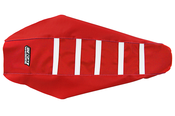DeCal Works Gripper Ribbed Seat Cover Red / Red / White Plastic Kit Level 1 Honda: CR125 (2 Stroke) (2000-01) / CR250 (2 Stroke) (2000-01)