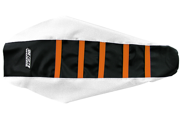DeCal Works Gripper Ribbed Seat Cover White / Black / Orange DeCal Works Seat Covers {{bikestring}}