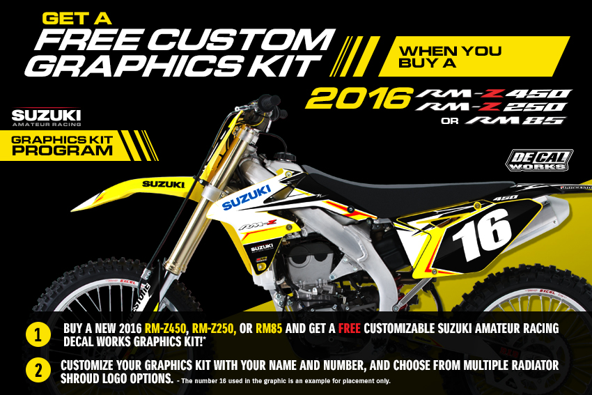 Rm z250 or rm85 in the continental united states excluding hi will include a suzuki decal works semi custom graphics kit arv 224 90