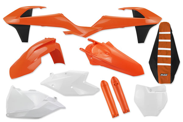 Complete Plastic Kit With Lower Forks & Seat Cover for KTM: SXF250 (Factory Edition) (2015-17) / SXF450 (Factory Edition) (2015-17) / SX125 (2 Stroke) (2016-18) / SX150 (2 Stroke) (2016-18) / SXF250 (2016-18) / SXF350 (2016-18) / SXF450 (2016-18) / XCF250 (2016-18) / XCF350 (2016-18) / XCF450 (2016-18) / SX250 (2 Stroke) (2017-18) / XC250 (2 Stroke) (2017-18) / XC300 (2 Stroke) (2017-18) | DeCal Works