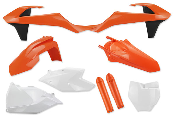 Complete Plastic Kit With Lower Forks for KTM: SXF250 (Factory Edition) (2015-17) / SXF450 (Factory Edition) (2015-17) / SX125 (2 Stroke) (2016-18) / SX150 (2 Stroke) (2016-18) / SXF250 (2016-18) / SXF350 (2016-18) / SXF450 (2016-18) / XCF250 (2016-18) / XCF350 (2016-18) / XCF450 (2016-18) / SX250 (2 Stroke) (2017-18) / XC250 (2 Stroke) (2017-18) / XC300 (2 Stroke) (2017-18) | DeCal Works