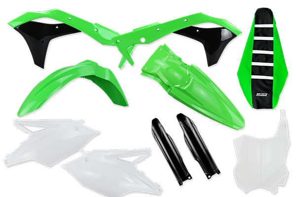 Complete Plastic Kit With Lower Forks & Seat Cover for Kawasaki: KX250F (2017-20) | DeCal Works