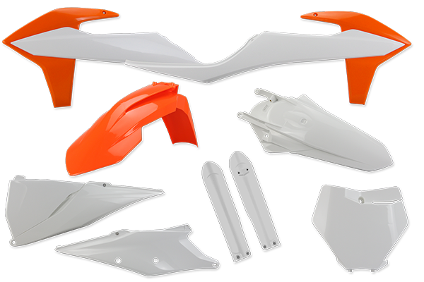 Complete Plastic Kit With Lower Forks for KTM: SXF450 (Factory Edition) (2018-20) / SX125 (2 Stroke) (2019-20) / SX150 (2 Stroke) (2019-20) / SX250 (2 Stroke) (2019-20) / SXF250 (2019-20) / SXF350 (2019-20) / SXF450 (2019-20) / XC250 (2 Stroke) (2019) / XC300 (2 Stroke) (2019) / XCF250 (2019-20) / XCF350 (2019-20) / XCF450 (2019-20) / XC250 TPI (2 Stroke) (2020) / XC300 TPI (2 Stroke) (2020) | DeCal Works