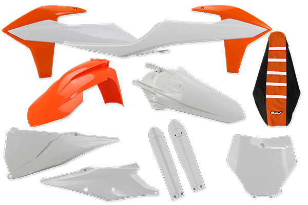 Complete Plastic Kit With Lower Forks & Seat Cover for KTM: SXF450 (Factory Edition) (2018-20) / SX125 (2 Stroke) (2019-20) / SX150 (2 Stroke) (2019-20) / SX250 (2 Stroke) (2019-20) / SXF250 (2019-20) / SXF350 (2019-20) / SXF450 (2019-20) / XC250 (2 Stroke) (2019) / XC300 (2 Stroke) (2019) / XCF250 (2019-20) / XCF350 (2019-20) / XCF450 (2019-20) / XC250 TPI (2 Stroke) (2020) / XC300 TPI (2 Stroke) (2020) | DeCal Works