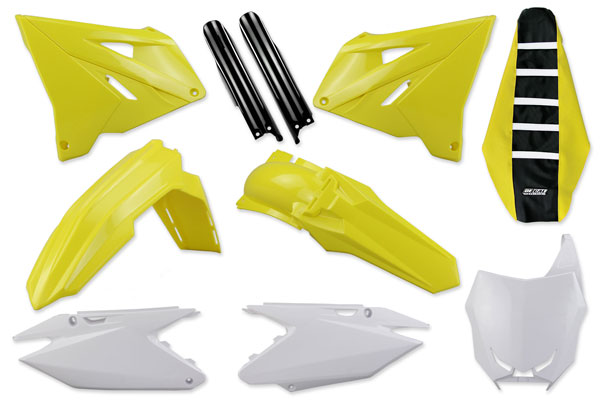 Complete Plastic Kit With Lower Forks & Seat Cover for Suzuki: RM125 (2 Stroke) [Polisport Restyled Plastic Kit] (2004-08) / RM250 (2 Stroke) [Polisport Restyled Plastic Kit] (2004-08) | DeCal Works