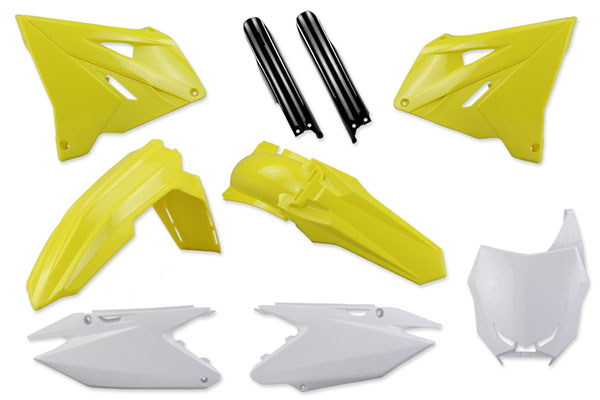 Complete Plastic Kit With Lower Forks for Suzuki: RM125 (2 Stroke) [Polisport Restyled Plastic Kit] (2004-08) / RM250 (2 Stroke) [Polisport Restyled Plastic Kit] (2004-08) | DeCal Works