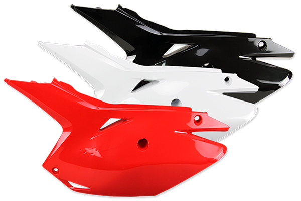 DeCal Works Restyled Side Number Plates for Honda: CRF250R (2014-17) / CRF250R (DeCal Works Restyled Plates) (2014-17) / CRF450R (2013-16) / CRF450R (DeCal Works Restyled Plates) (2013-16) | DeCal Works