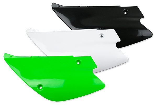 Side Number Plates for Kawasaki: KX100 (2 Stroke) (1998-13) / KX100 (2 Stroke) (Restyled Fenders) (2001-13) / KX80 (2 Stroke) (1998-00) / KX85 (2 Stroke) (2001-13) / KX85 (2 Stroke) (Restyled Fenders) (2001-13) | DeCal Works