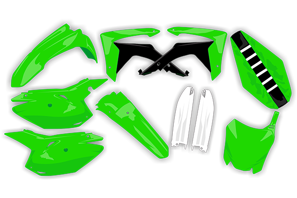 Complete Plastic Kit With Lower Forks & Seat Cover for Kawasaki: KX450F (2016-18) | DeCal Works