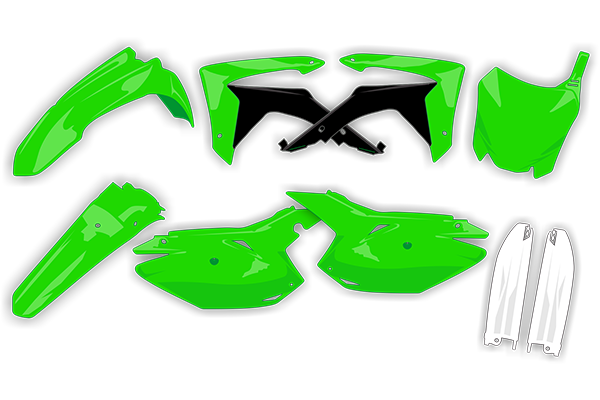 Complete Plastic Kit With Lower Forks for Kawasaki: KX250F (2009-12) | DeCal Works