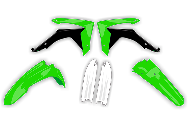 Plastic Kit Level 4 for Kawasaki: KX100 (2 Stroke) [UFO Restyled Fender Plastic] (2001-13) / KX85 (2 Stroke) [UFO Restyled Fender Plastic] (2001-13) | DeCal Works